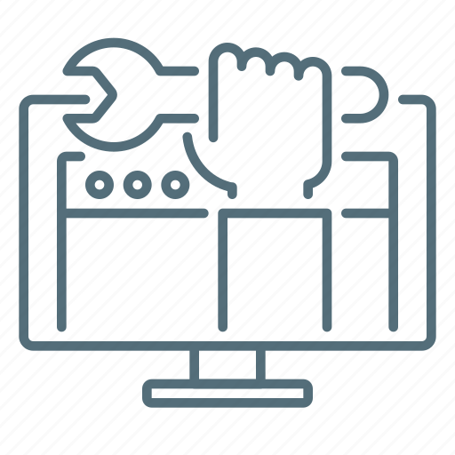 computer, development, hand, optimization, seo, web, wrenches icon