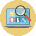 case, case study, learning, magnifier, magnifying, search, study icon