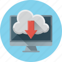 arrow, cloud, computer, data, download, storage icon