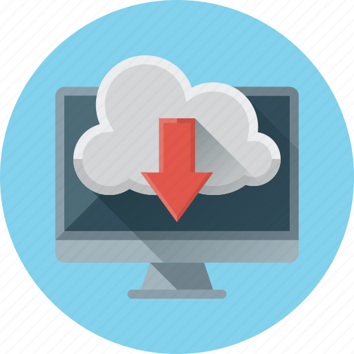 arrow, cloud, computer, data, download, storage icon