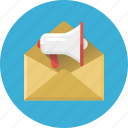 advertising, mail, mail marketing, marketing, message, mouthpiece, speaker icon