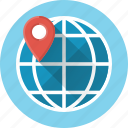 geotargeting, globe, gps, location, pin, planet, pointer icon