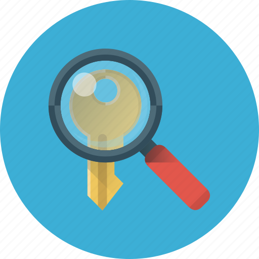 key, keyword, magnifier, magnifying, search, search keyword, seo icon