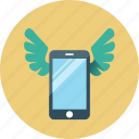 device, marketing, mobile, mobile marketing, phone, smartphone, wings icon