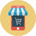 e-commerce, ecommerce, mobile, mobile shop, shop, smartphone, store icon