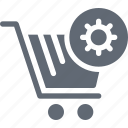 cog, cog in cart, shopping cart, shopping cart preferences, shopping cart setting icon