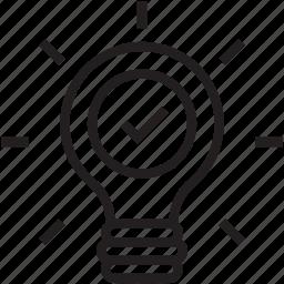 bulb, idea, invention, light bulb, luminaire icon