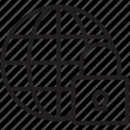 global security, globe, globe lock, globe with lock, lock icon