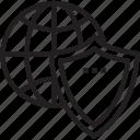 antispam, antivirus, brandmauer, firewall, globe icon