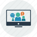 avatar, chat, computer, finance, man, person, talk icon
