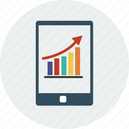 analytics, business, currency, diagram, finance, ipad, smartphone icon