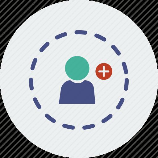 account, add, avatar, circle, group, human, social icon