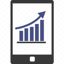 analytics, application, business, chart, connection, graph, smartphone icon