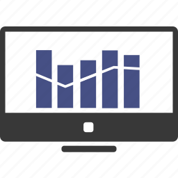 analytics, business, businessman, chart, computer, document, graph icon