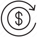 dollar, money, reload icon