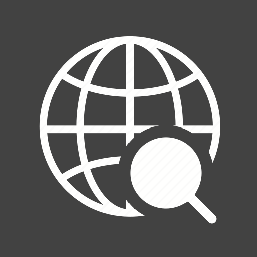 glass, globe, internet, magnifier, magnifying, world, world map icon