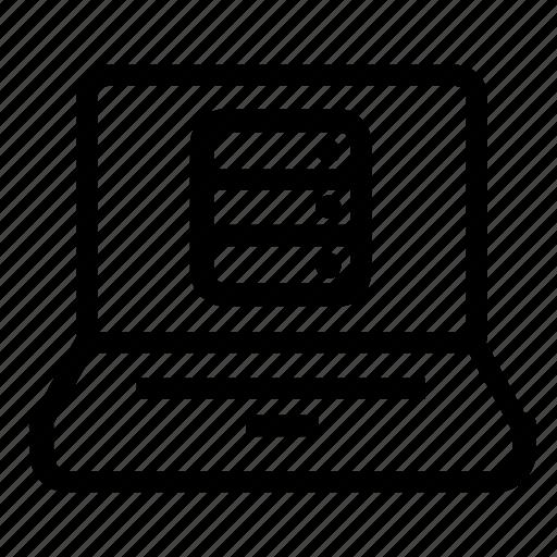 database, laptop, server icon
