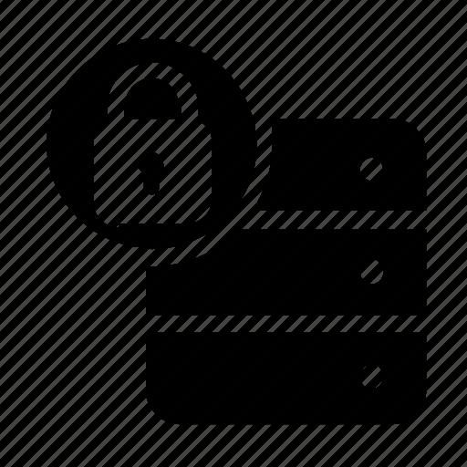 database, lock, server, storage icon