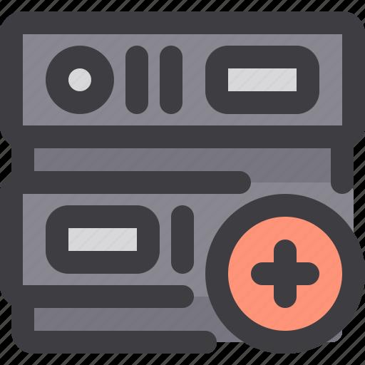 add, database, network, server, storage icon