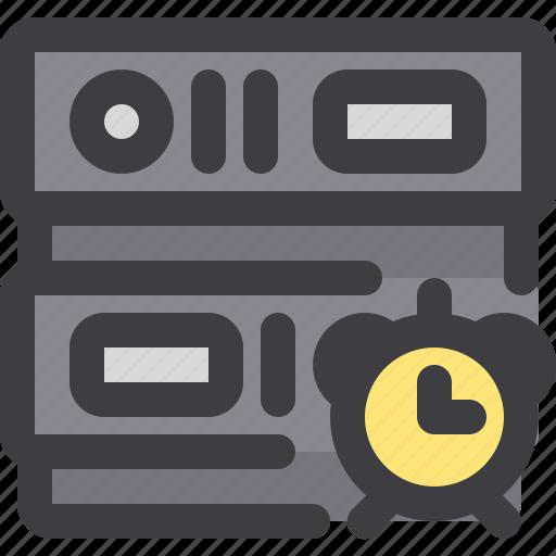 alarm, clock, database, network, server, storage icon