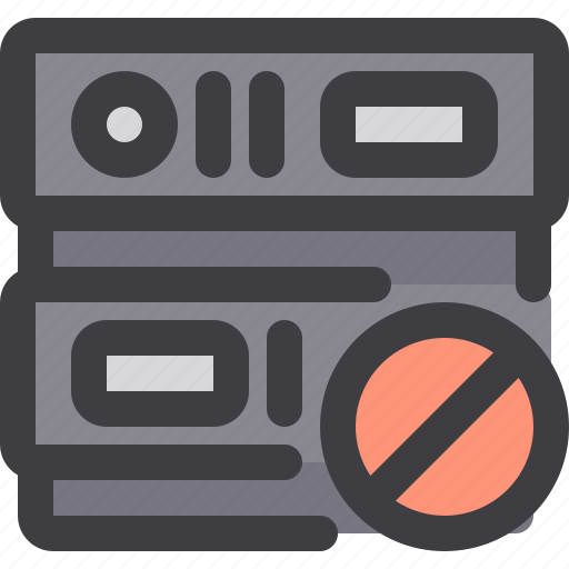 ban, database, network, server, storage icon