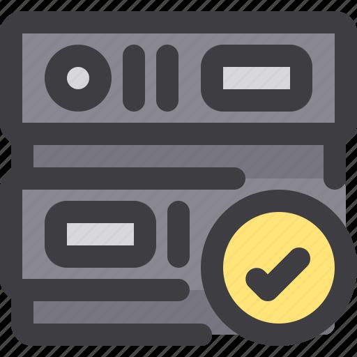 check, database, network, server, storage icon