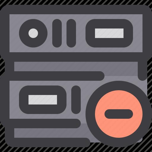 database, delete, network, server, storage icon