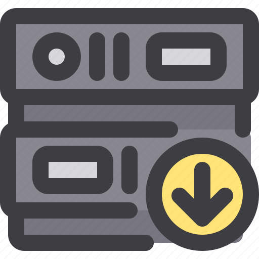 database, download, network, server, storage icon