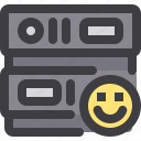 database, like, network, server, smile, storage icon