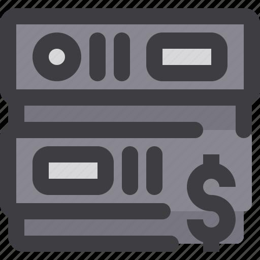 database, money, network, server, storage icon