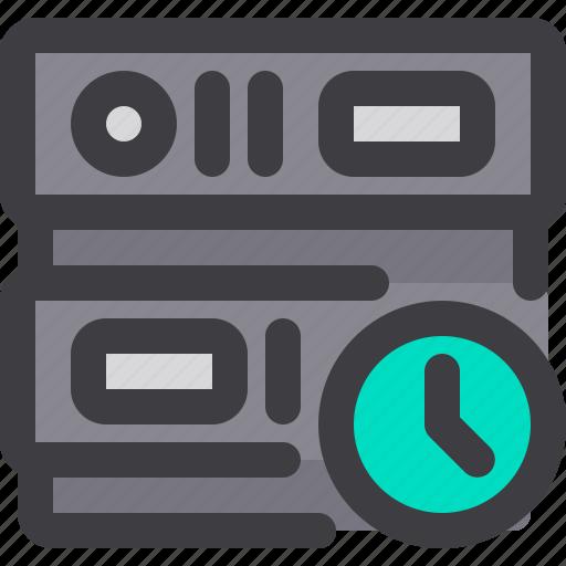 clock, database, network, server, storage, time icon