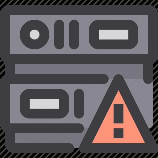database, network, server, storage, warning icon