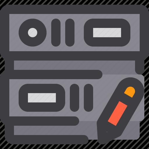 database, network, server, storage, write icon