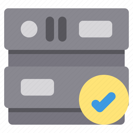 check, database, network, server, storage icon