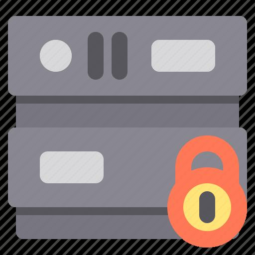 database, lock, network, server, storage icon
