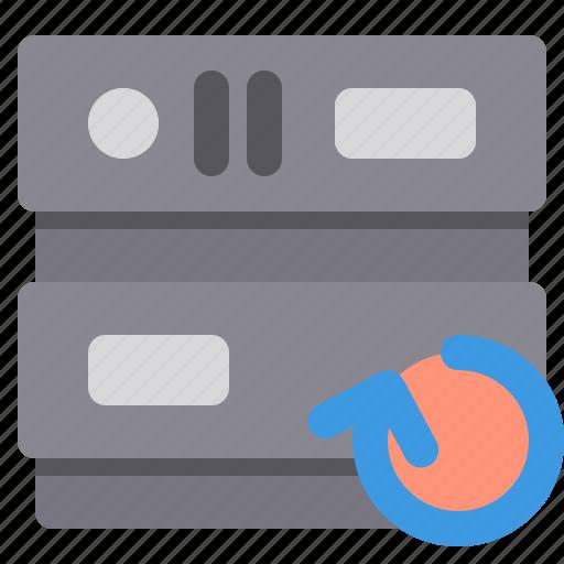 database, network, server, storage, undo icon
