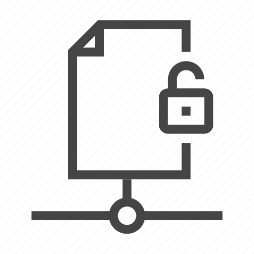 data, database, document, page, server, storage, unlock icon