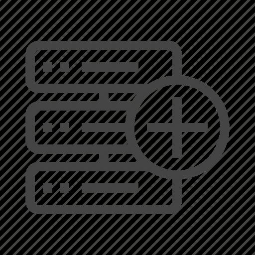 add, data, database, internet, plus, server, storage icon