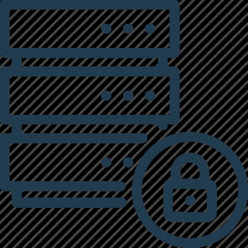 data, database, lock, password, protection, server, storage icon