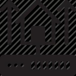 database, hardware, home server, hosting, server, storage, up icon