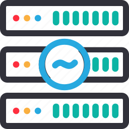 database, hardware, hosting, modem, server, stable connection, storage icon