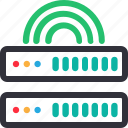 database, hardware, hosting, modem, server, signal, storage icon