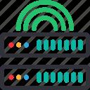 database, hardware, hosting, modem, server, signal, storage