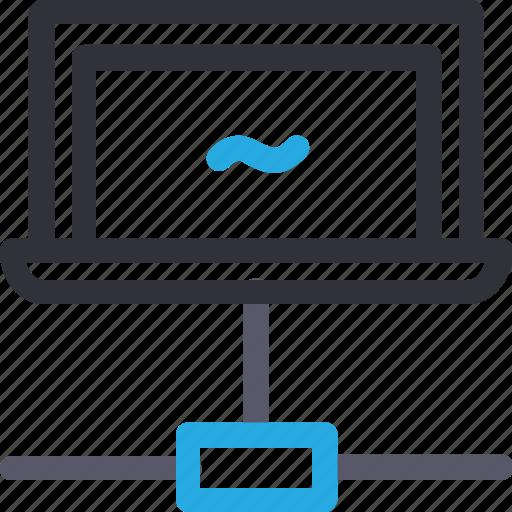 database, hardware, hosting, laptop, server, stable connection, storage icon