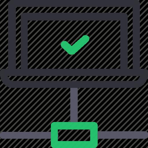 database, good connection, hardware, hosting, laptop, server, storage icon
