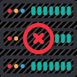 database, error connection, hardware, hosting, modem, server, storage icon