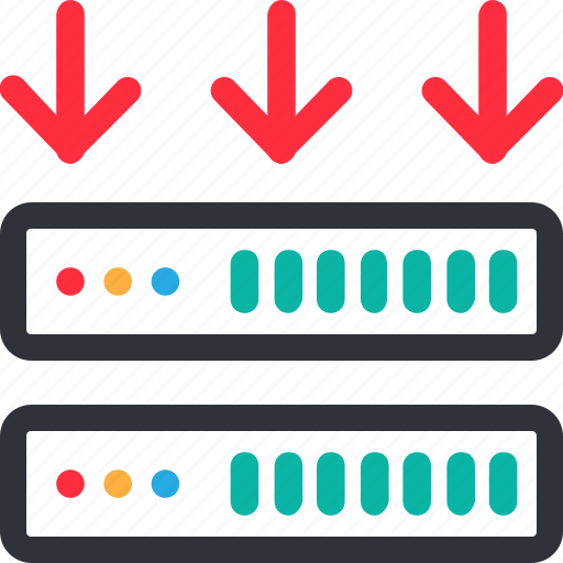 connection down, database, hardware, hosting, modem, server, storage icon