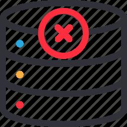 database, error connection, hardware, hosting, server, storage icon