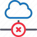 cloud, database, error connection, hardware, hosting, server, storage icon