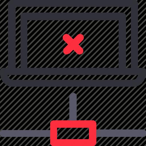 database, error connection, hardware, hosting, laptop, server, storage icon